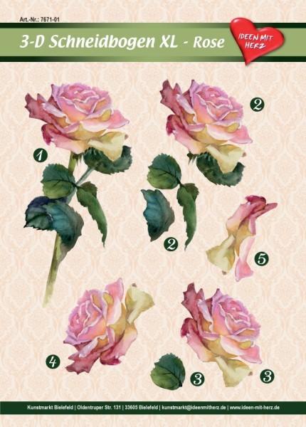 3-D Bogen XL-Rose, zum Ausschneiden