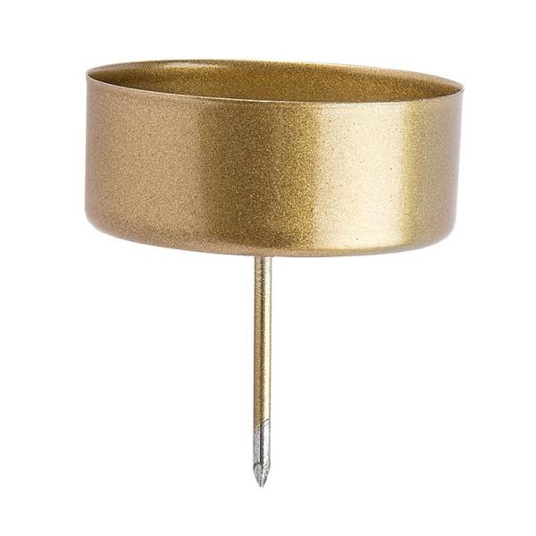 Teelichthalter zum Stecken, Ø 4,2cm, gold mattiert, 4 Stück