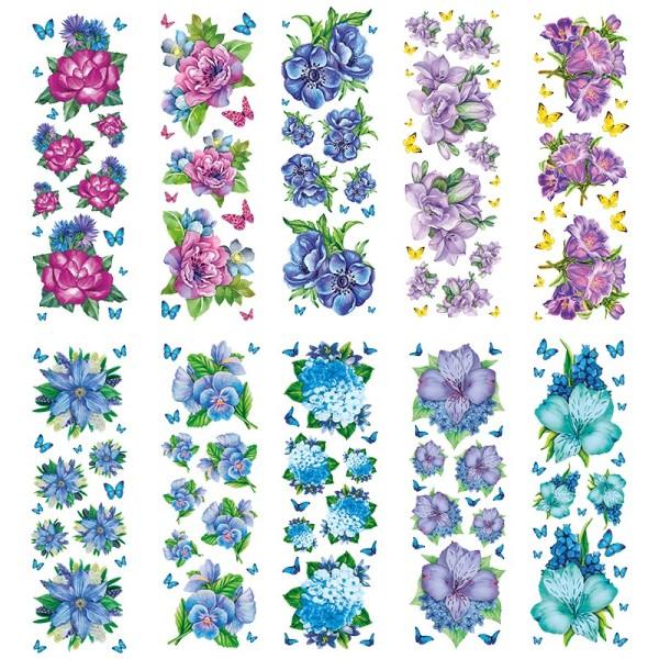 Transparent-Sticker, Blumen in Blau-Violett, 10cm x 30cm, 10 Bogen