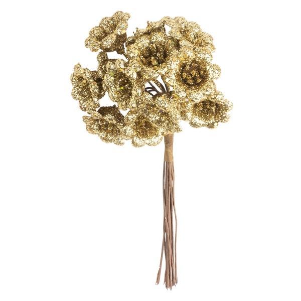Deko-Zweige, Blüte 1, 10cm lang, am Draht, goldener Glimmer, 12 Stück