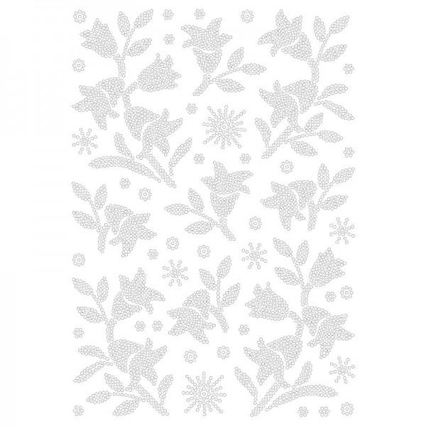 Bügelstrass-Design, DIN A4, klar, Glockenblumen