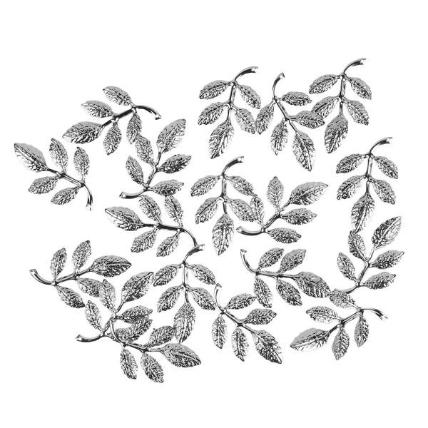 Metall-Ornamente, Design 9, 3,7cm x 2,1cm, silber, 18 Stück