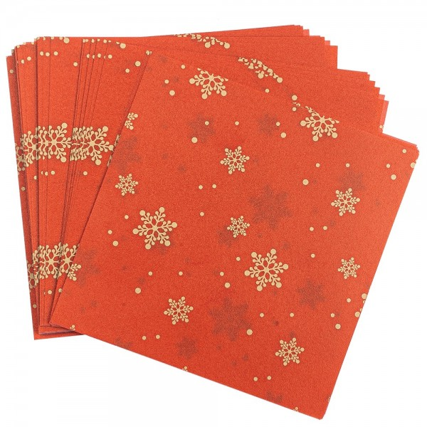 Faltpapiere, transparent, Eiskristalle, 10cm x 10cm, 110 g/m², rot/gold, 100 Stück
