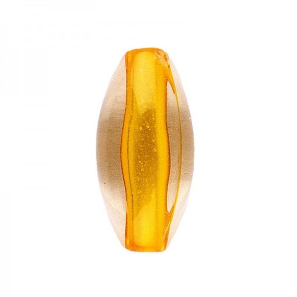 DuoColor-Perlen, oval, 12mm, orange/klar, 20 Stück