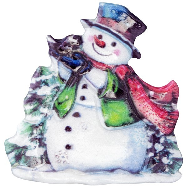 Wachsornament Lustige Schneemänner 2, farbig, geprägt, 7cm