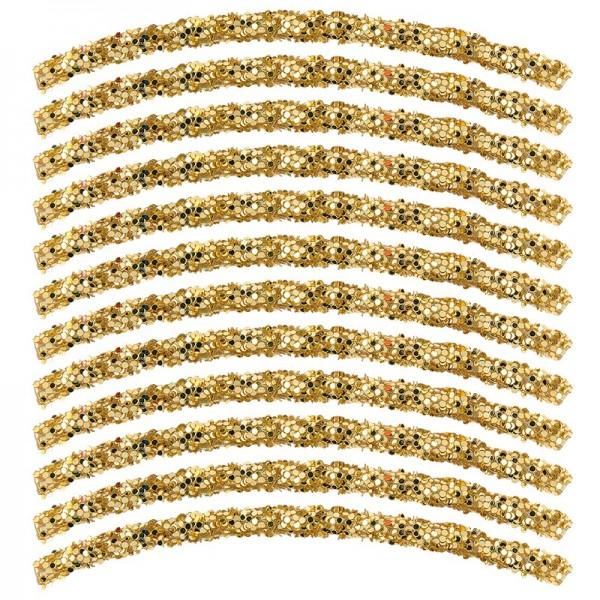 Glitzer-Tubes, flexibel, 10cm lang, Ø 0,5cm, gold, 12 Stück