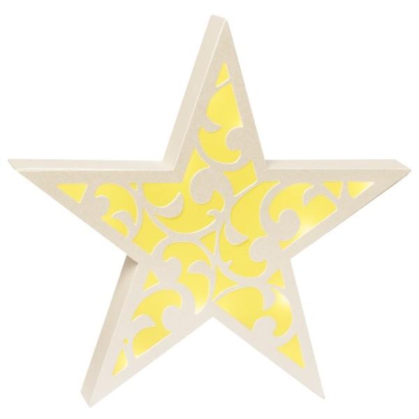 Stern Diana, 24 cm Ø, Stanzformen, perlmutt/gelb