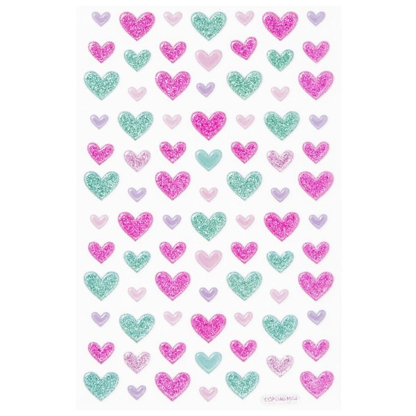 Glimmer-Relief-Sticker, Herzen, 10 x 15 cm