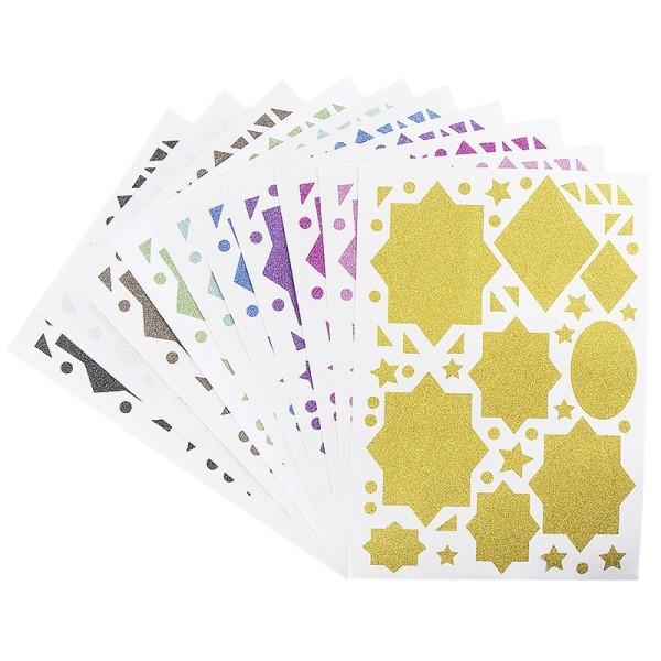 Glitzer-Sticker, Ornamente und Rahmen 5, DIN A4, 10 Farben, 10 Bogen