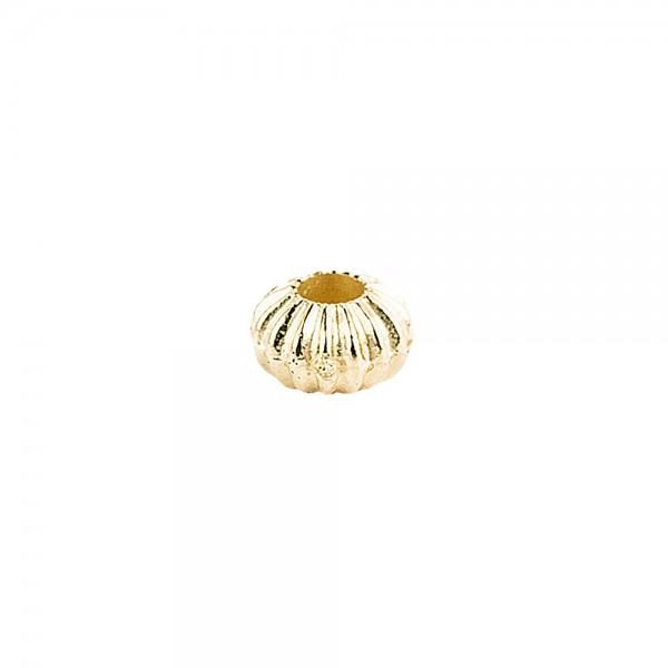 Perlen, Rondell, geriffelt, 0,4cm x 0,3cm, hellgold, 1880 Stück