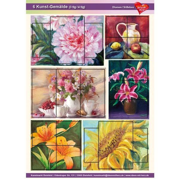 Kunst-Gemälde, A4 Bogen, 6 Stück, 3-/4-tlg, Blumen/Stilleben