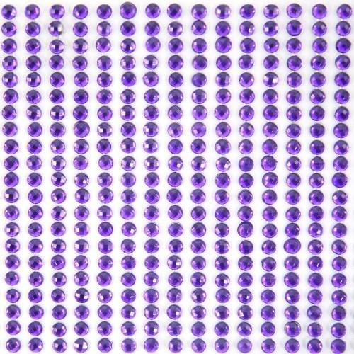 Glitzerstein-Bordüren, selbstklebend, Ø4mm, 29cm, violett, 16Stk