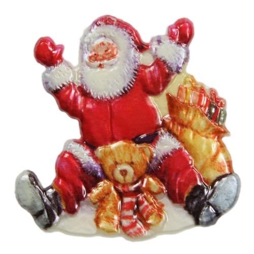 Wachsornament, Nikolaus mit Teddy, farbig, geprägt, 7x7cm