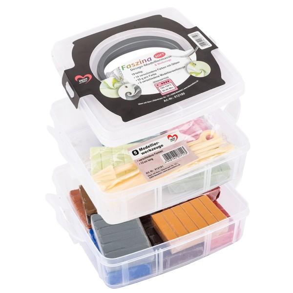 Faszina Soft, Modelliermasse, 14 Farben mit Glitzer, 5 Werkzeuge, je 55 g, ofenhärtend, 19-teilig