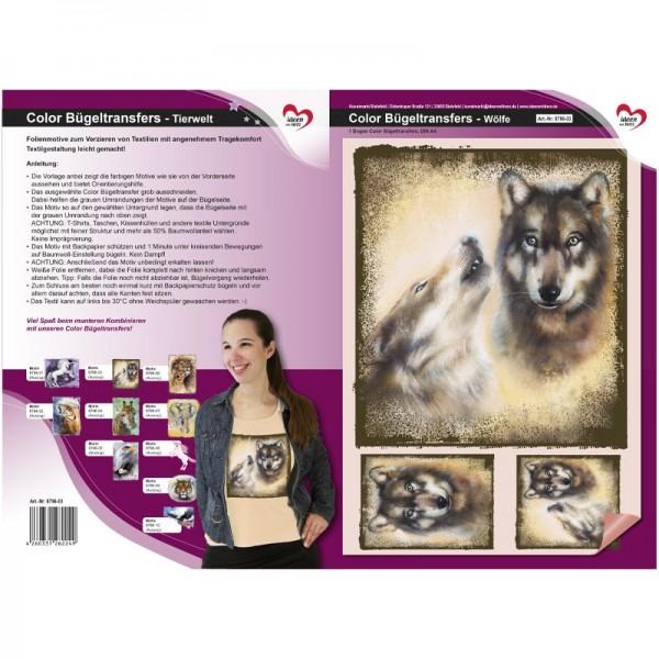 Color Bügeltransfers, DIN A4, Tierwelt, Wölfe