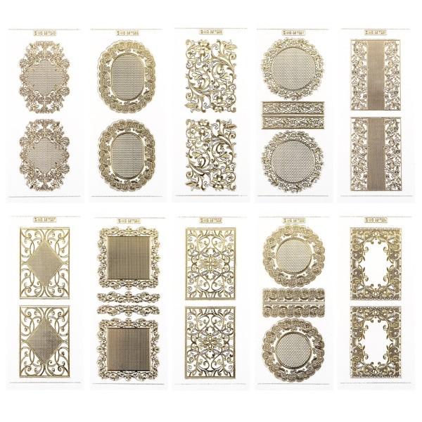 Gravur-Sticker, Hintergründe & Spitzendeckchen, transparent/gold, 10 Bogen