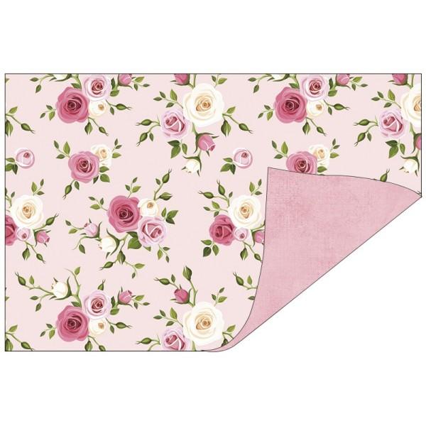Faltpapiere, Duo-Design 39, 10cm x 15cm, Rosen/rosa, 50 Stück