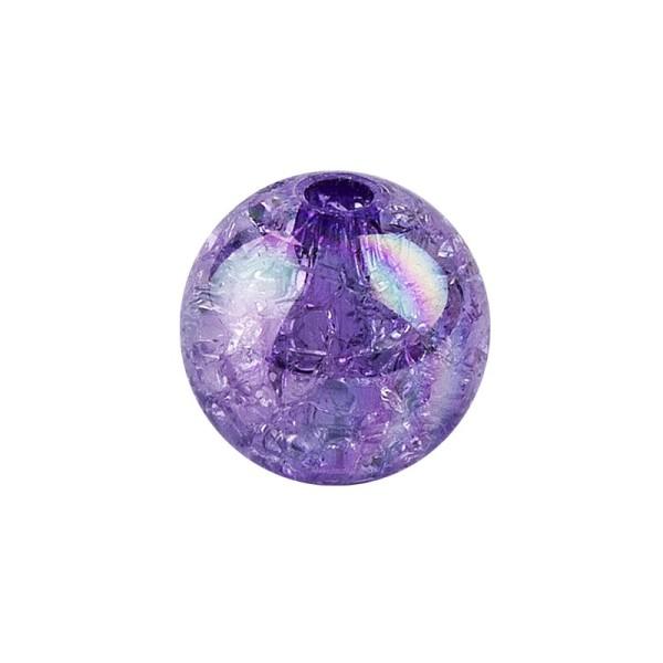 Perlen, Crackle, Ø 8mm, violett-irisierend, 100 Stk.