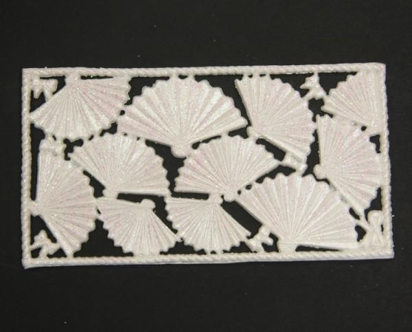 Wachsornament-Platte Fächer, 16 x 8 cm, perlmutt mit Glimmer