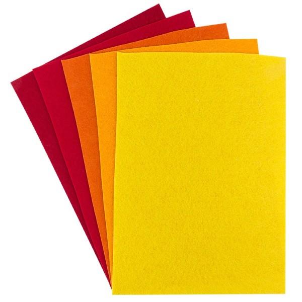 Filz, 2mm stark, DIN A4, Rot-/Gelbtöne, 5 Bogen