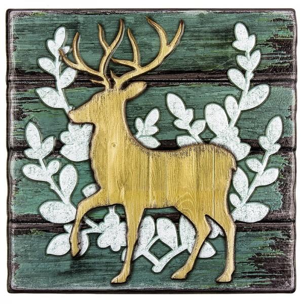 Relief-Sticker in Holz-Optik, Hirsch 1 auf Holzpaneelen, 18 cm x 17,5 cm