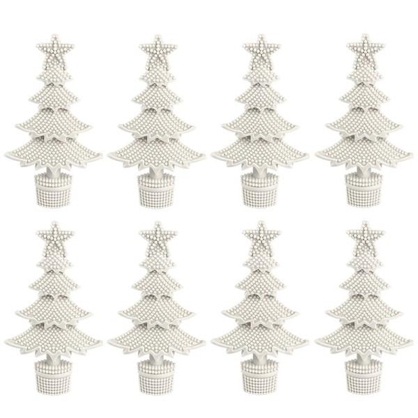 Winter-Deko, Rohling, Tannenbaum 1, 7cm x 12cm, weiß, 8 Stück