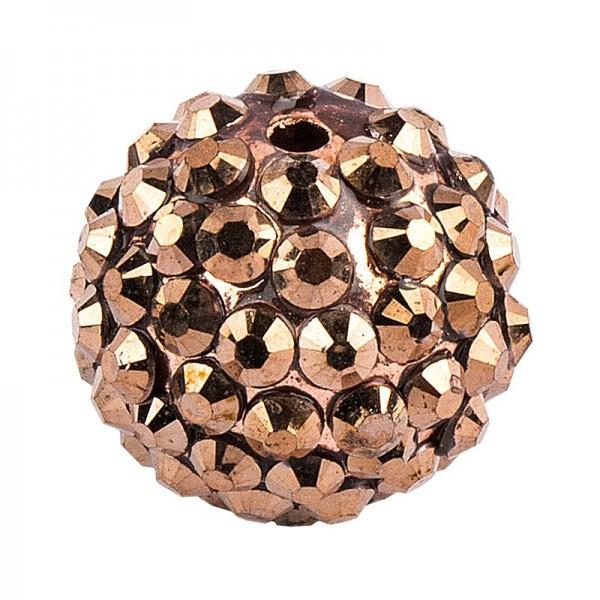 Kristall-Perlen, Ø 18mm, bronze, 10 Stück