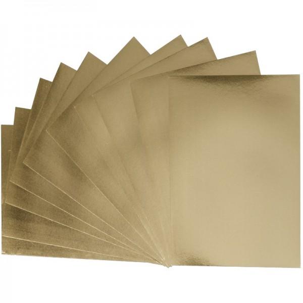Folienpapiere, Spiegelfolie, gold (beidseitig), DIN A5, 10 Bogen