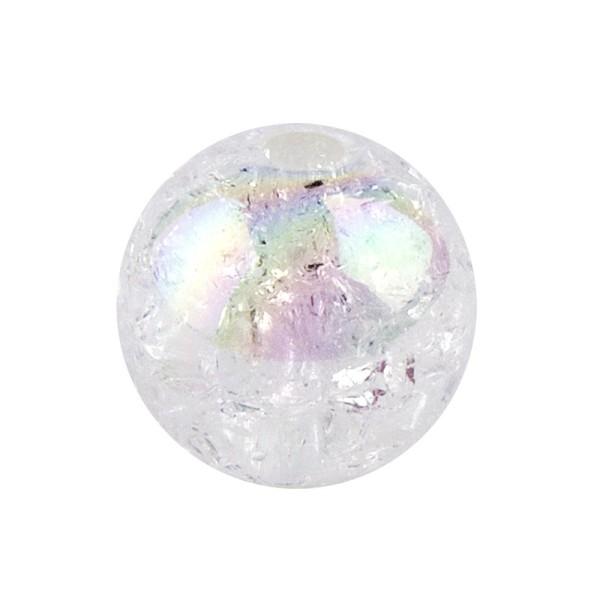 Perlen, Crackle, Ø 14 mm, weiß-irisierend, 15 Stk.