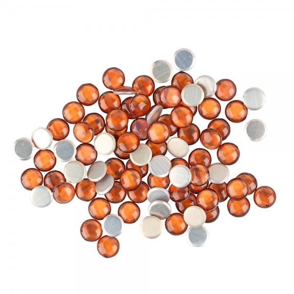 Hot-Fix Halbperlen zum Aufbügeln, Ø 6mm, orange, 100 Stück