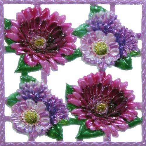 Wachsornament-Platte Flower Power 1, farbig, geprägt, 10x10cm
