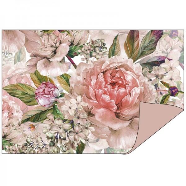 Faltpapiere Duo-Design 1, 10cm x 15cm, Blumen/rosenholz, 50 Stück