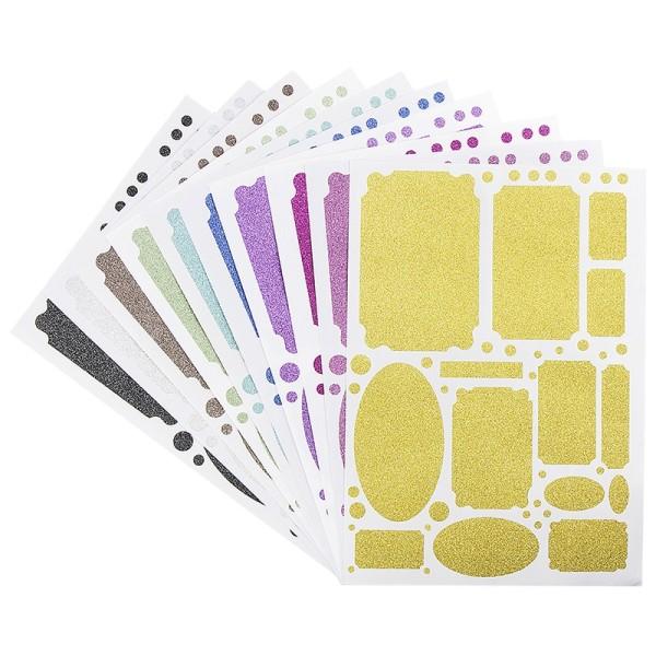 Glitzer-Sticker, Ornamente und Rahmen 3, DIN A4, 10 Farben, 10 Bogen