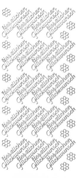 Sticker, Schrift, Herzlichen Glückwunsch, silber