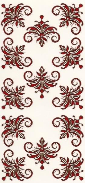 Microglitter-Sticker, Schnörkelornament 1, rot