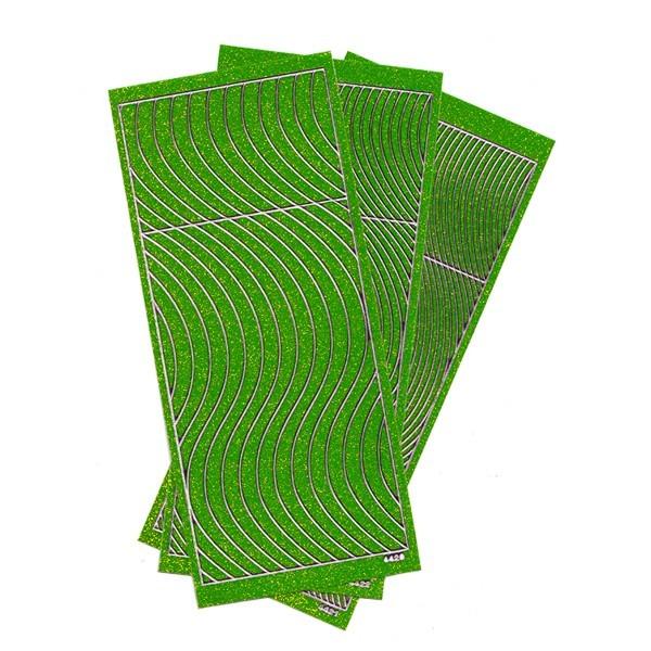 Microglitter-Sticker, Schwung-Linien, 3 Bogen, hellgrün