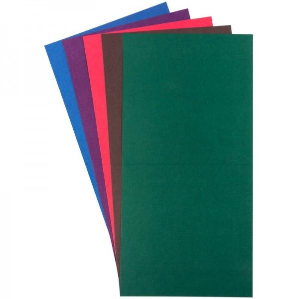 Grußkarten in Leinen-Optik, 16x16 cm, 5 Farben, kräftige Farbtöne, inkl. Umschläge, 10 Stück