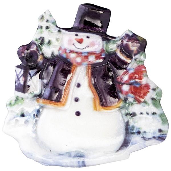 Wachsornament Fröhl. Schneemänner 10, farbig, geprägt, 7cm