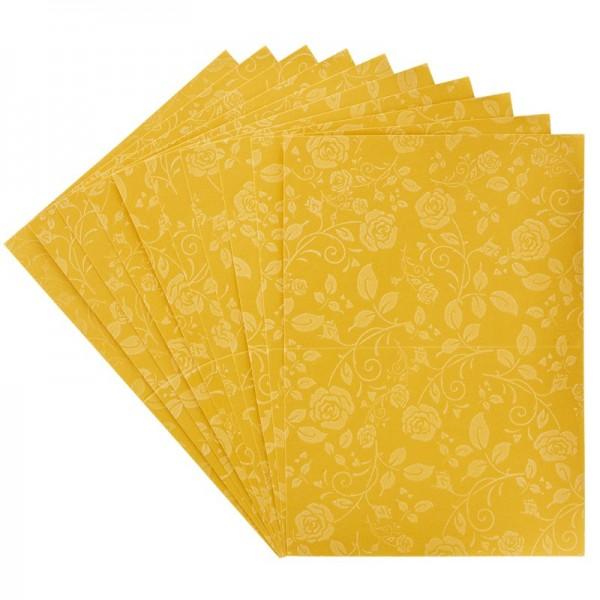 Grußkartenset mit Rosenduft und edlem Samtvelour-Druck, C6, gold
