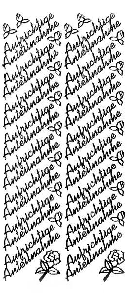 Sticker, Schrift, Aufrichtige Anteilnahme, schwarz