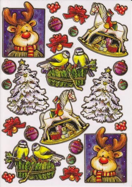 Ultra Gloss Sticker, DIN A4 Bogen, Schaukelpferd, Rentier & Meisen