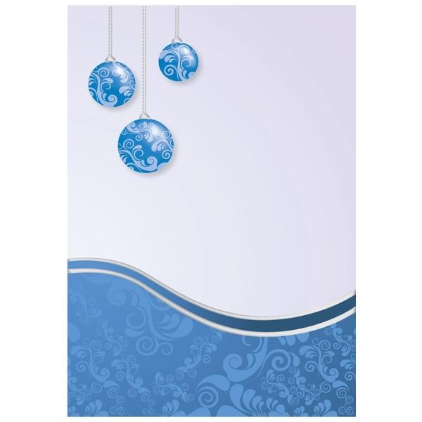 """5er Doppel-Grußkarten-Set """"Blaue Weihnachtskugeln"""", B6"""