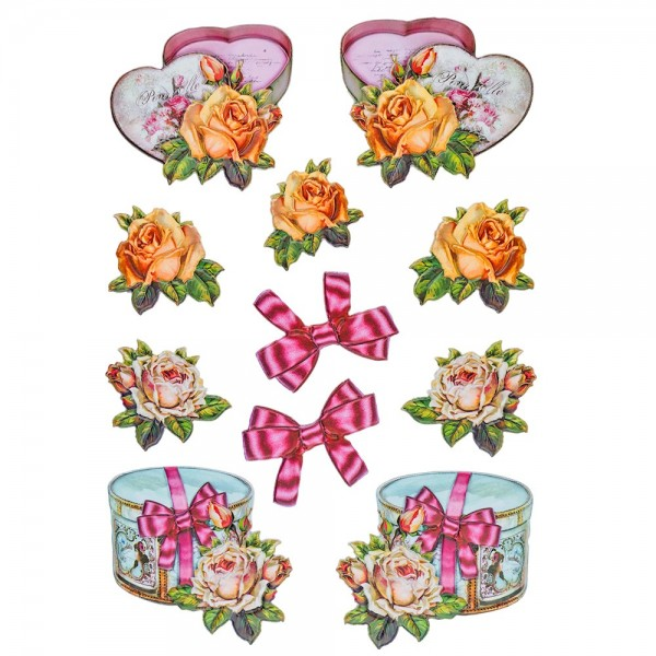 3-D Relief-Sticker, Vintage-Rosengrüße 2, verschiedene Größen, selbstklebend