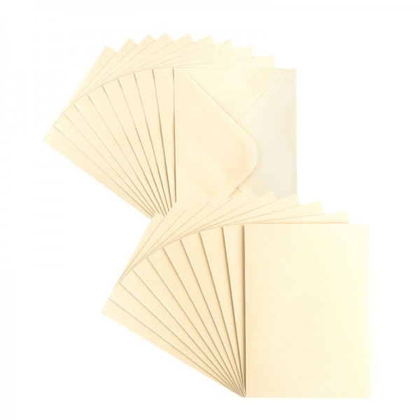 Grußkarten, Perlmutt, B6 (11,5cm x 16,5cm), creme, inkl. Umschläge, 10 Stück