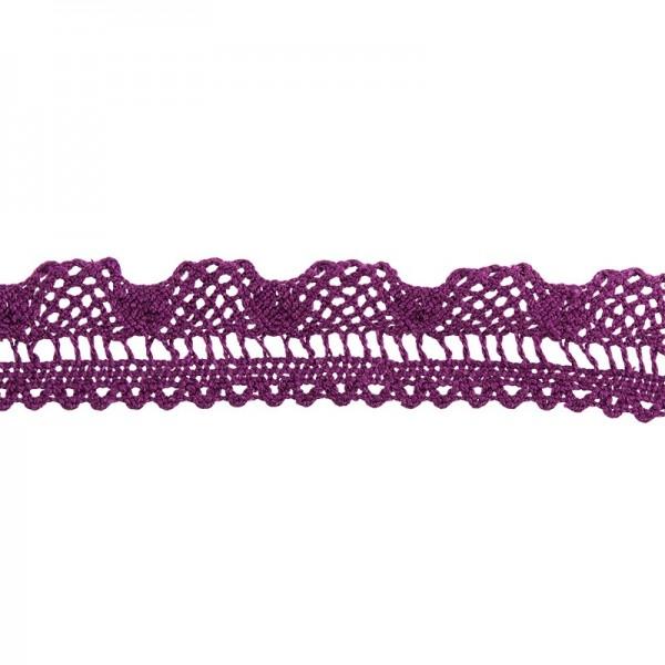Häkelspitze Design 8, 2,1cm breit, 2m lang, aubergine