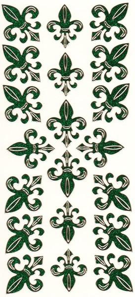 Microglitter-Sticker, Französische Lilie, grün
