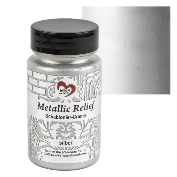Metallic Relief, Schablonier-Creme, silber, 90ml