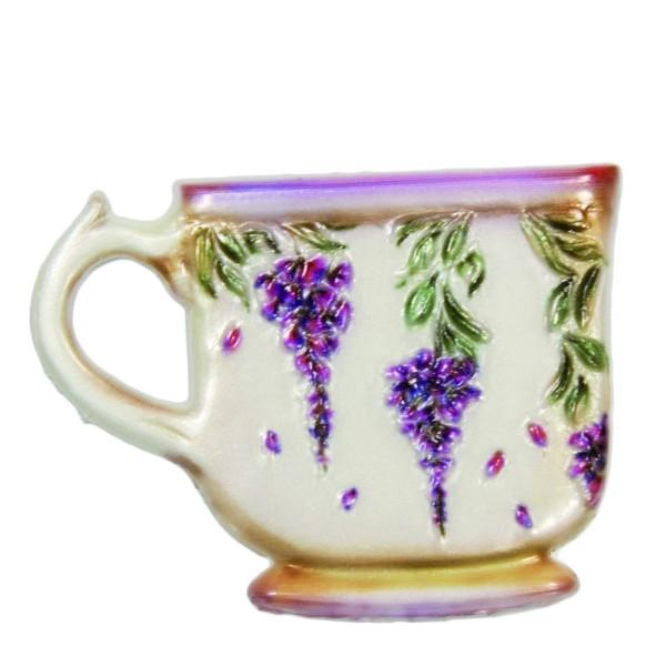 Wachsornament Tasse mit Blumenzierde, 4,5 x 6 cm, Design 2