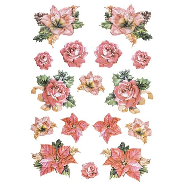 3-D Relief-Sticker, Weihnachtliche Blumen 1, versch. Größen, selbstklebend