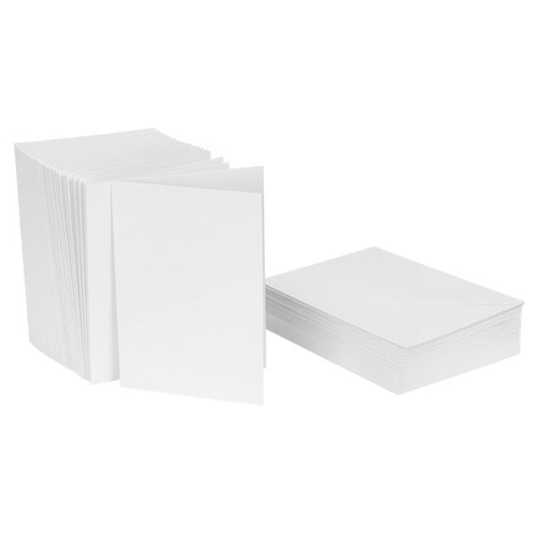 Klappkarten-Set, weiß, 10,5cm x 14,8cm, 240g/m², inkl. Umschläge, 50 Stück
